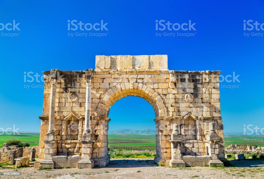 Caracalla Triumphal Arch at Volubilis, a UNESCO heritage site in Morocco stock photo