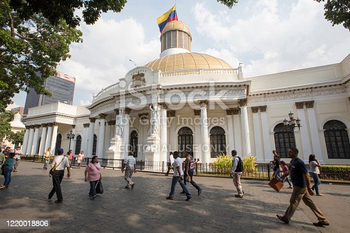 Caracas, Venezuela - may 06, 2014 - people walking in front of National Assembly Capitolio Congress, buildings of Federal Government in downtown, Caracas, Venezuela