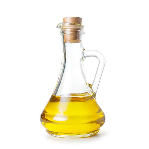 Botella de boca ancha de aceite de oliva - foto de stock