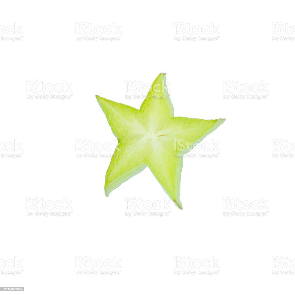 Carambola,Averrhoa carambola L,fruit star slice isolated on whit stock photo