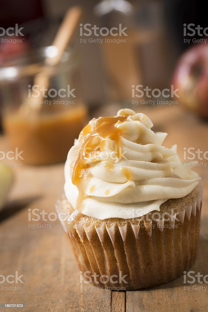 Caramel Apple Cupcake on an Angle Vertical royalty-free stock photo