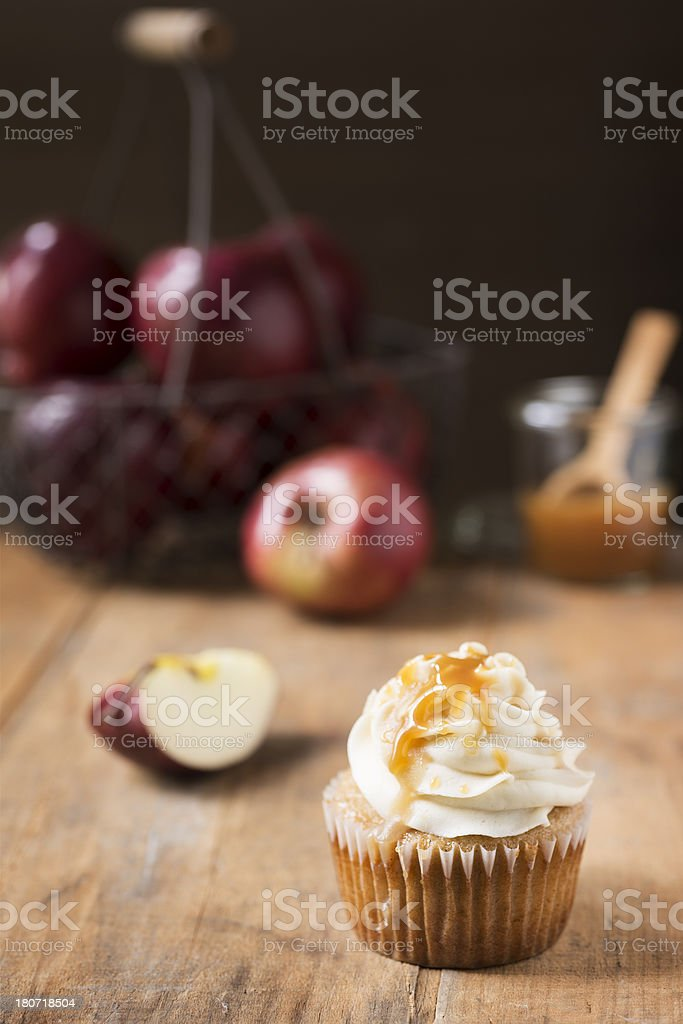 Caramel Apple Cupcake Rustic with Copy Space royalty-free stock photo