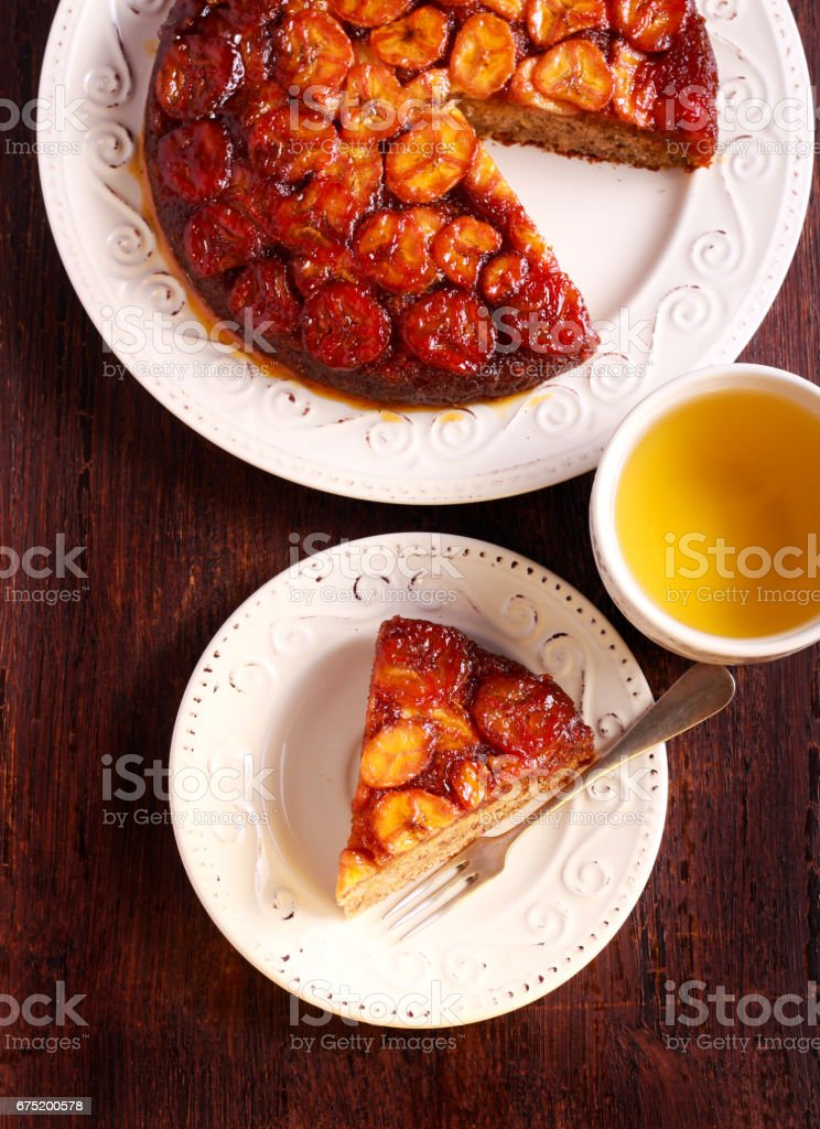 Caramel banana upside down cake stock photo