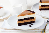 Piece of Chocolate Cake on white plate, copy space. Homemade chocolate cake.