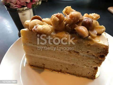Close-up of caramel cake on plate.