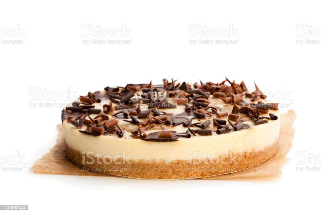 Caramel  cheesecake with chocolate flakes isolated on white royalty-free stock photo