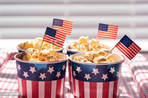 istock Caramel corn in patriotic snack cups for 4th of July party 1141534061