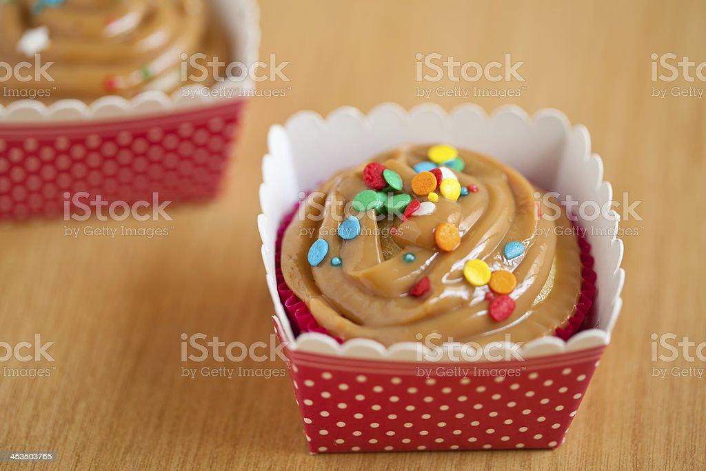 Caramel cupcake stock photo