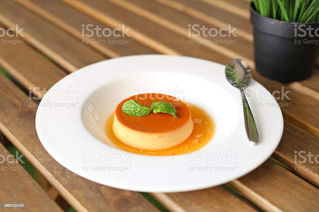 Caramel custard cake. stock photo