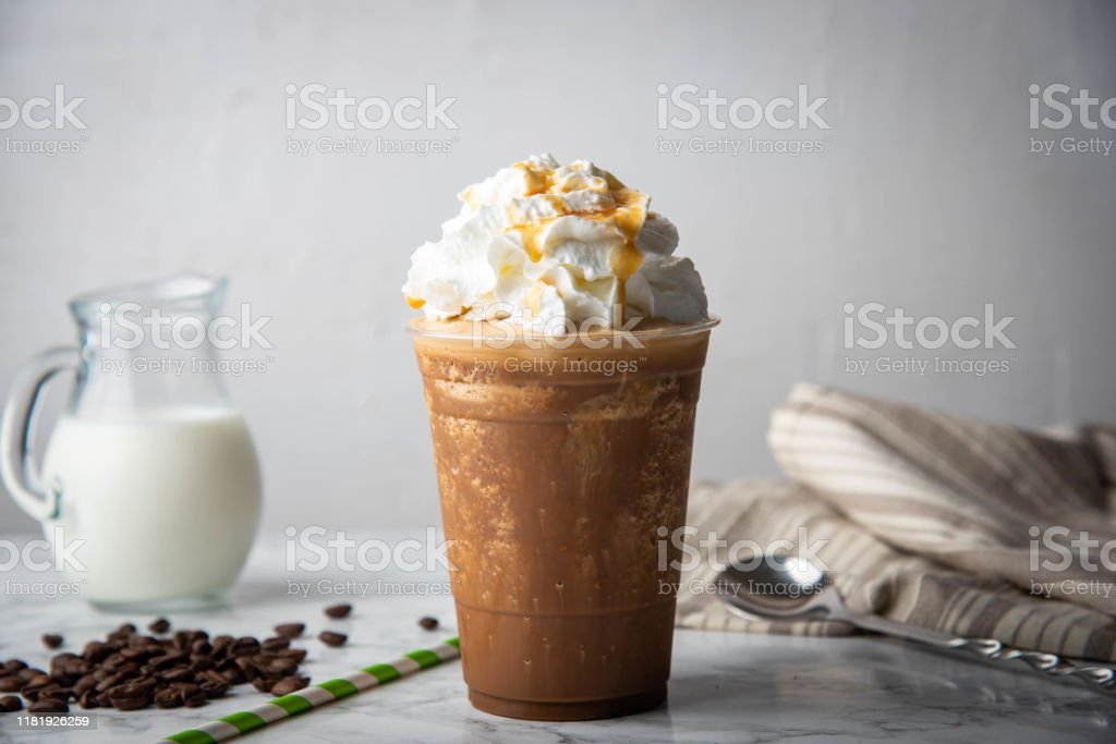 Caramel Frappuccino With Wipped Cream On Marble Table Stock Photo Download Image Now Istock