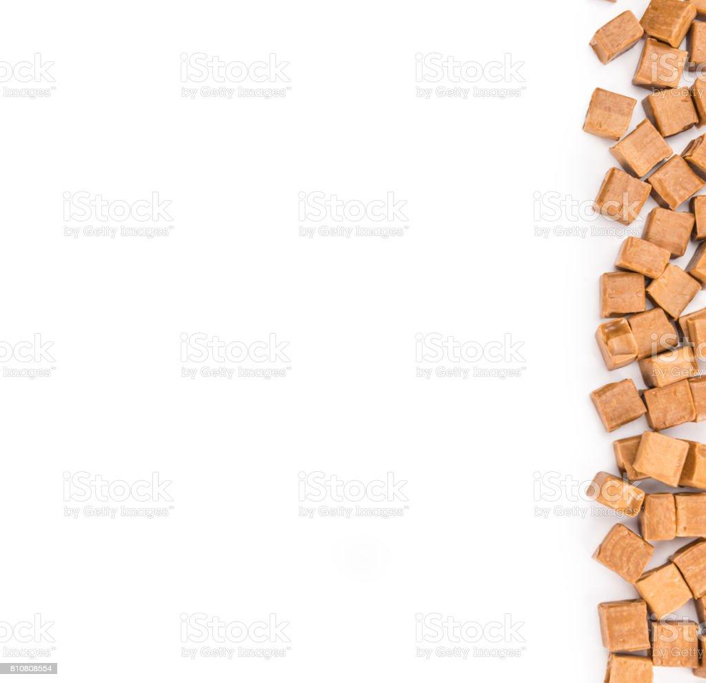 Caramel isolated on white stock photo