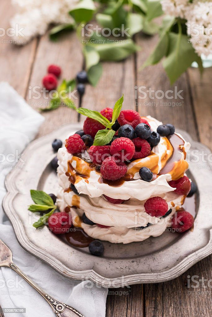 Caramel Pavlova Cake stock photo
