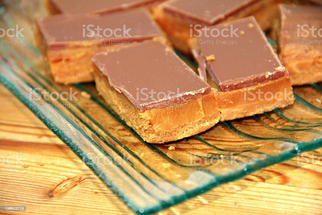 caramel shortbread stock photo