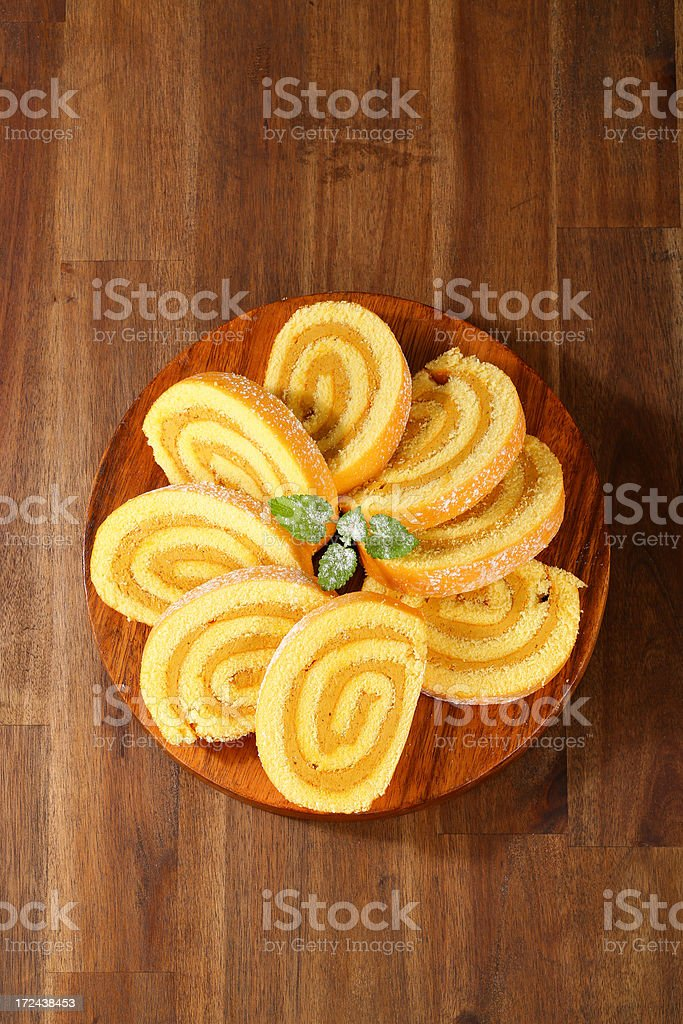 caramel swiss roll slices royalty-free stock photo