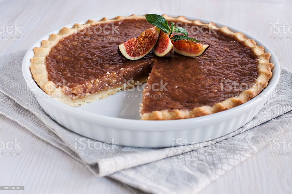caramel tart with figs stock photo