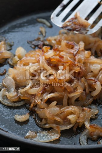 Caramelized onion in a frying pan.
