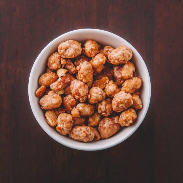 Caramelized peanuts stock photo