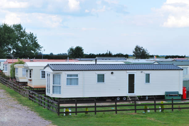 caravan homes typical seaside moblile homes manufactured housing stock pictures, royalty-free photos & images