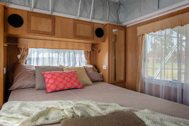 Caravan interior Bedroom inside camper van rv interior stock pictures, royalty-free photos & images