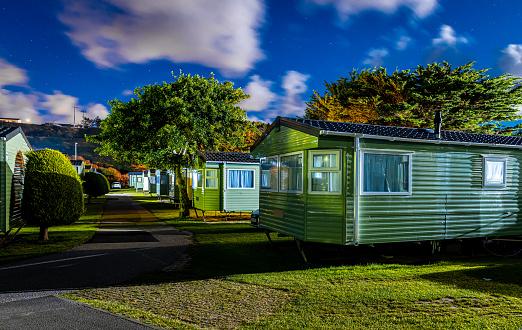 Caravan park near the ocean coast in Cornwell, UK