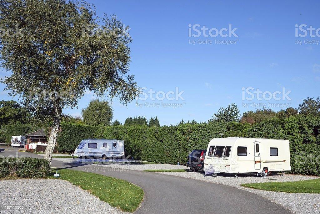 Caravan park with hard standings royalty-free stock photo