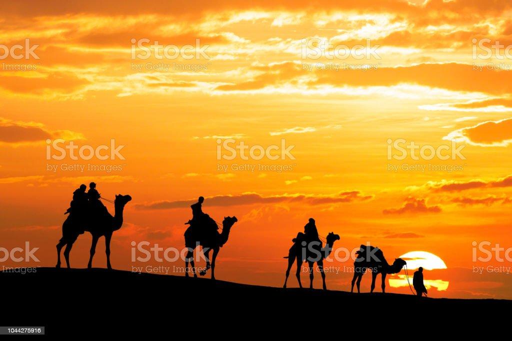 Wohnwagen mit Kamel durch die Wüste Thar in Indien Wandern, Silhouette und Dramatischer Himmel zeigen – Foto