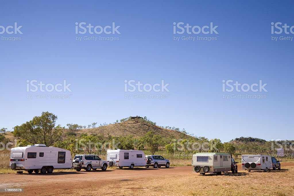 Caravans in Outback Australia royalty-free stock photo