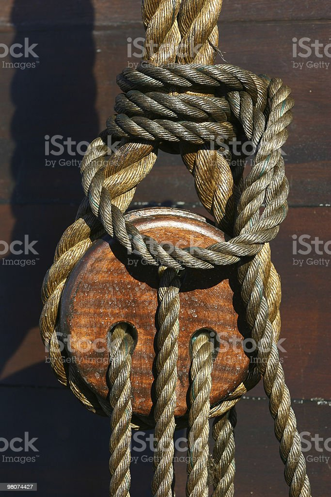 Caravel - Detail of the Rope royalty-free stock photo