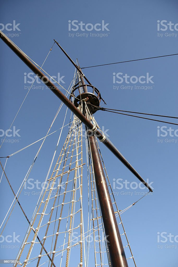 Caravel - Detail of the topsail royalty-free stock photo