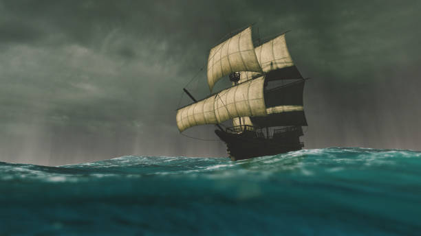 Caravel sailing the ocean during a storm Caravel sailing the ocean during a storm colonial style stock pictures, royalty-free photos & images