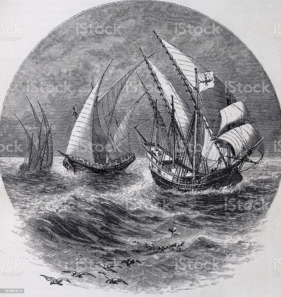 Caravels of the Fifteenth Century stock photo
