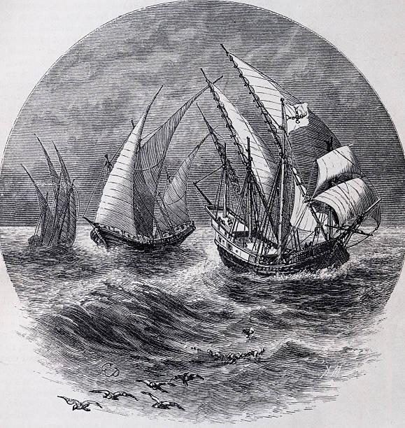 caravels del xv secolo - acquaforte foto e immagini stock