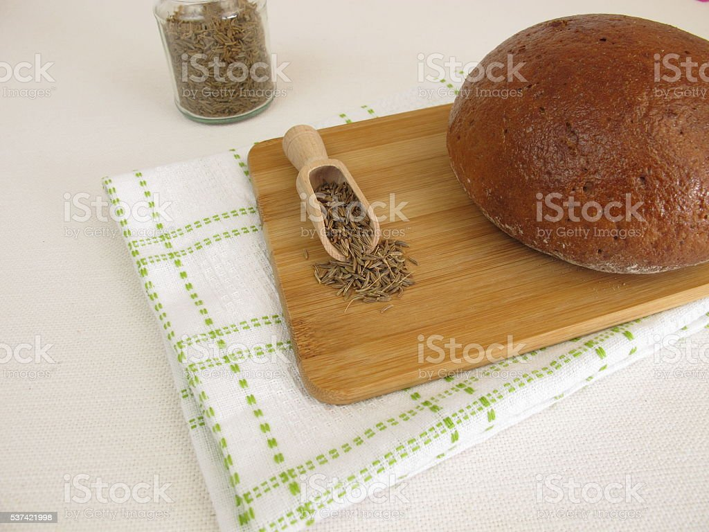 Caraway bread - Rye bread with caraway seeds stock photo