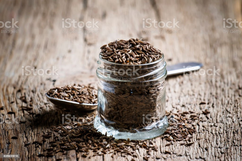 Caraway grain, selective focus stock photo