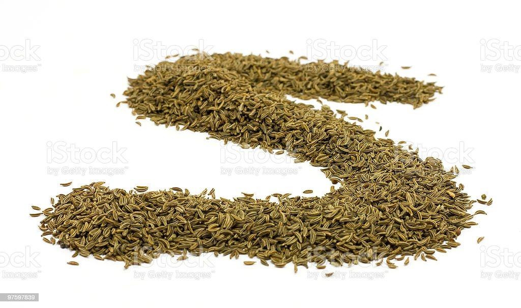 S-shape des graines de Cumin des près photo libre de droits