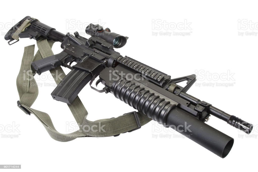 m4 carbine equipped with m203 grenade launcher stock photo more