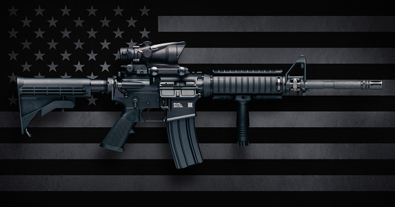 M4a1 Carbine Over Usa Flag Stock Photo - Download Image Now