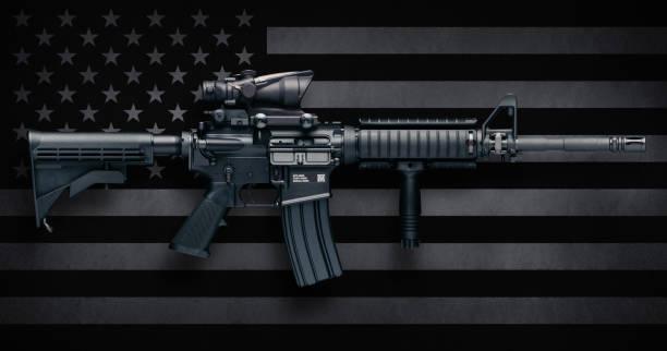 M4A1 Carbine Over USA Flag stock photo