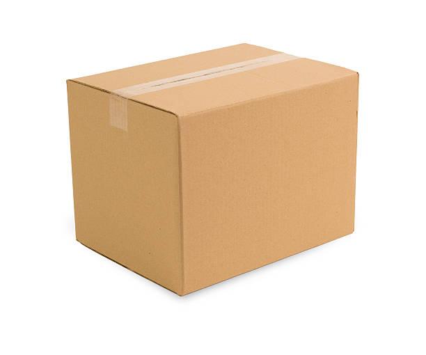 carboard box w/clippping path - kartonnen verpakking stockfoto's en -beelden