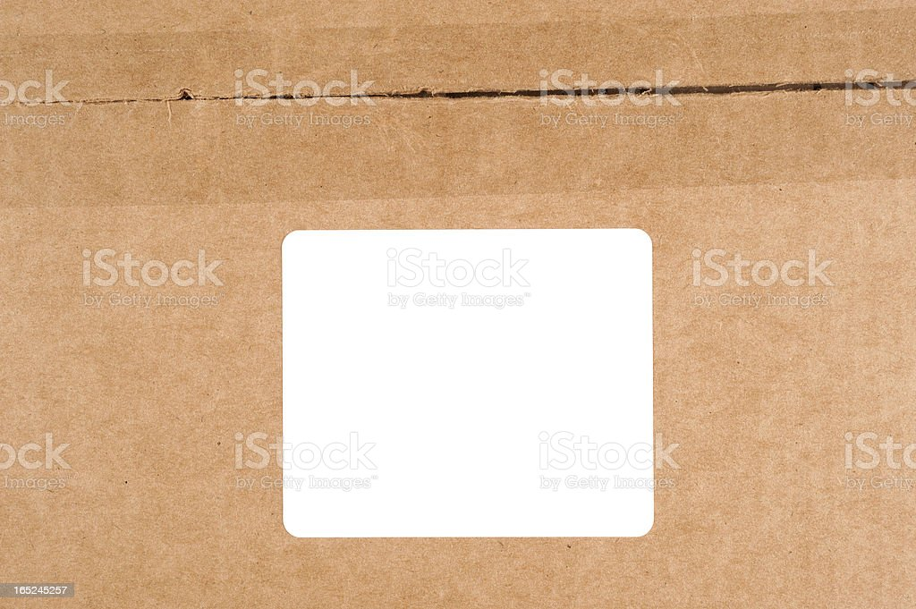 Carboard box with label stock photo