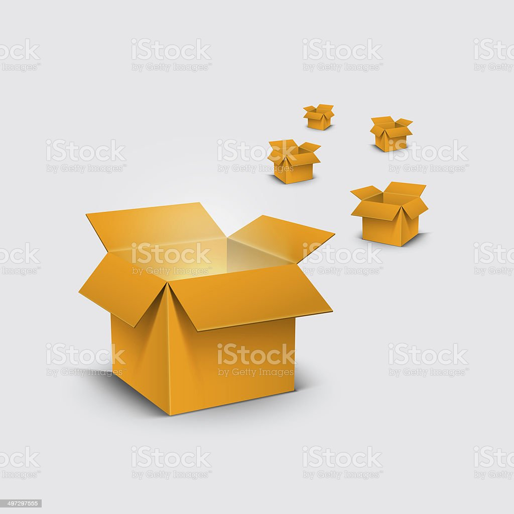 carboard boxes open 5 stock photo