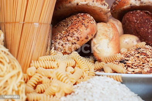 Food high in carbohydrates,, rice,, pasta,, cereal,, bread,, bagel,, noodle.