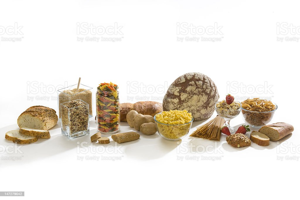 Carbohydrates rich food stock photo