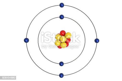 Carbon Atom Bohr Model With Proton Neutron And Electron Stock Photo