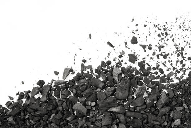 carbon charcoal texture on white background - coal stock pictures, royalty-free photos & images