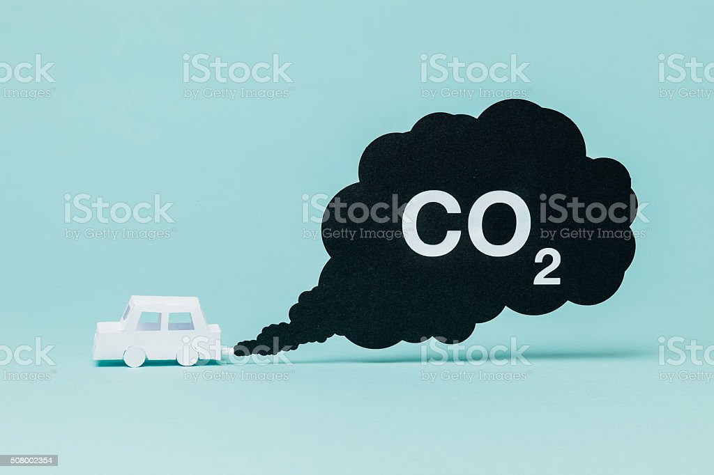 Carbon dioxide and transportation stock photo