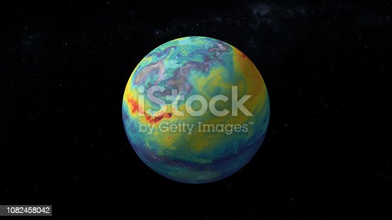Carbon dioxide emission on Earth. Massive CG graphics created using VC orb plug-in mixed with NASA imagery. Texture map used from: https://svs.gsfc.nasa.gov/11683