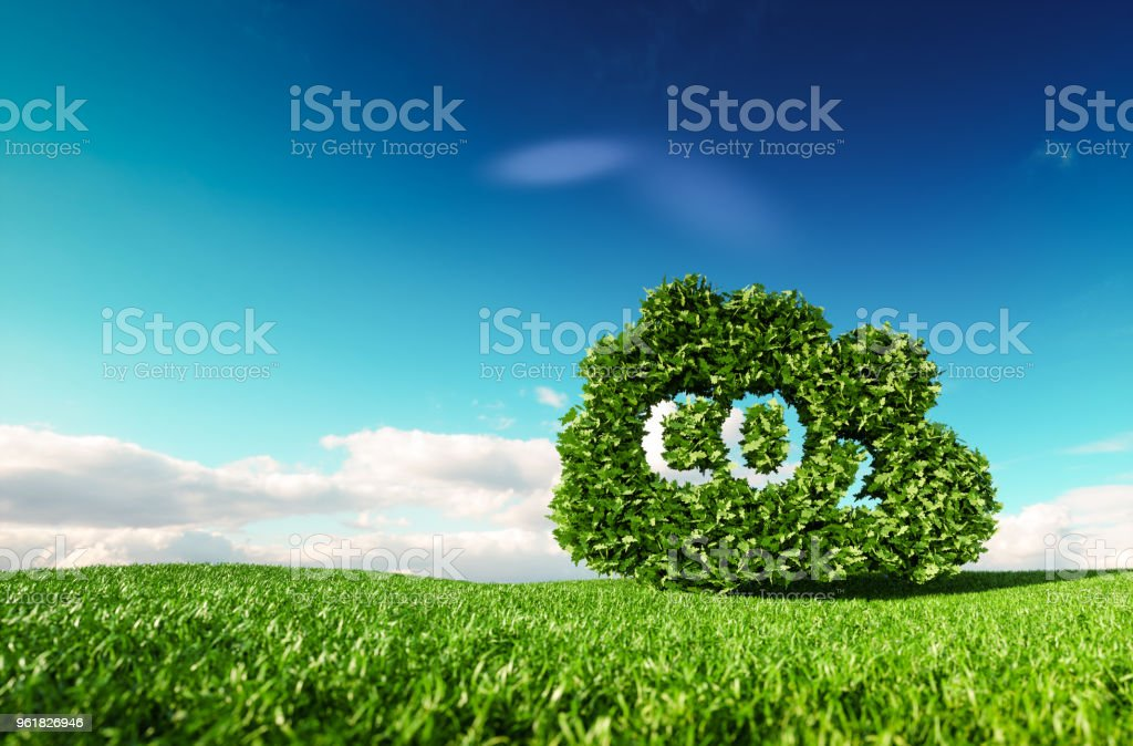 Carbon dioxide emissions control concept. 3d rendering of co2 cloud on fresh spring meadow with blue sky in background. stock photo