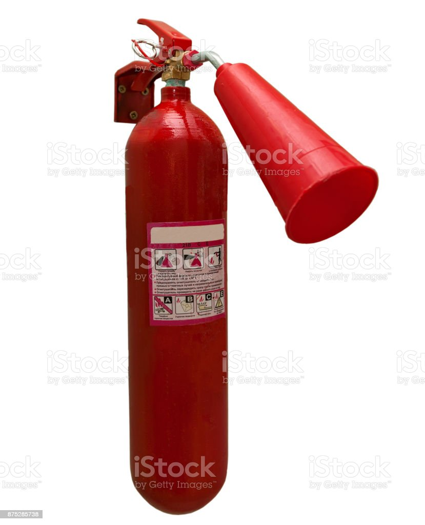 carbon dioxide fire extinguisher on isolated white background stock photo