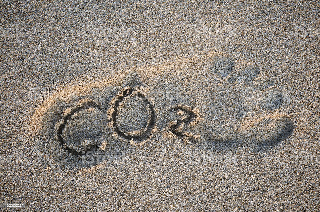 CO2 Carbon Dioxide Global Warming Message Footprint in Sand stock photo